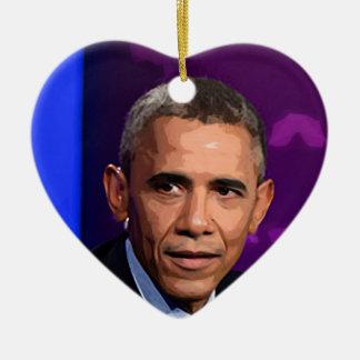 Abstract Portrait of President Barack Obama 9 Ceramic Ornament