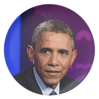 Abstract Portrait of President Barack Obama 9 Plate