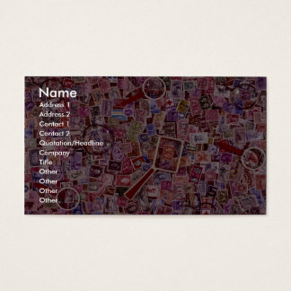 Abstract Postage stamps and magnifiers Business Card
