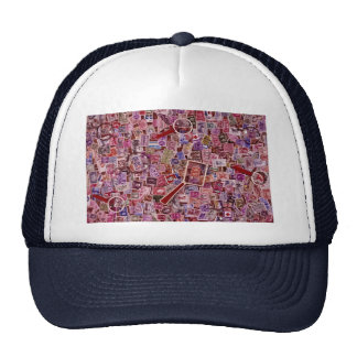 Abstract Postage stamps and magnifiers Trucker Hats