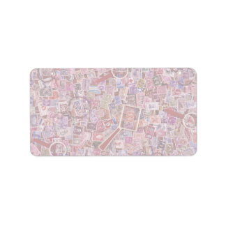 Abstract Postage stamps and magnifiers Address Label
