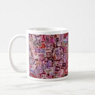 Abstract Postage stamps and magnifiers Coffee Mugs
