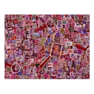 Abstract Postage stamps and magnifiers Postcard