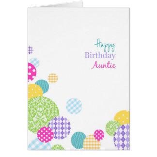 Abstract pretty rainbow dots Happy Birthday Auntie Card
