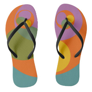 Abstract Print Colorful Bright Orange Blue Thongs