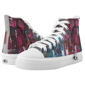 Abstract print Zipz High Top Shoes,unisex Printed Shoes