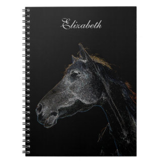 Abstract Psychedelic Silver And Black Horse Spiral Notebook