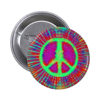 Abstract Psychedelic Tie-Dye Peace Sign 6 Cm Round Badge