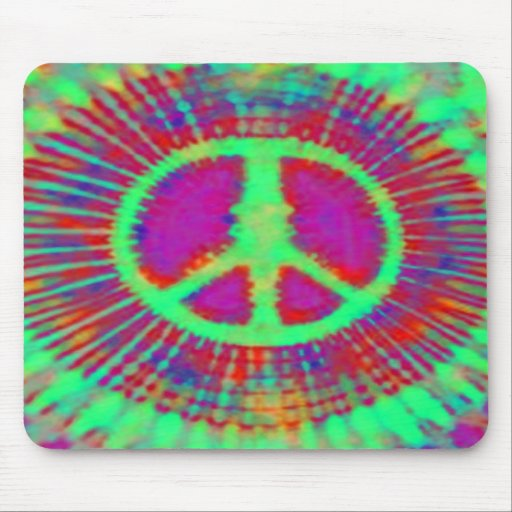 Abstract Psychedelic Tie-Dye Peace Sign Mousepads