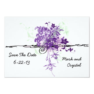 Abstract Purple Flowers Bouquet Save The Date 13 Cm X 18 Cm Invitation Card