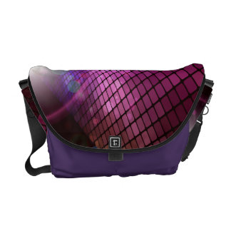 Abstract Purple Grid Vector Graphic Messenger Bags