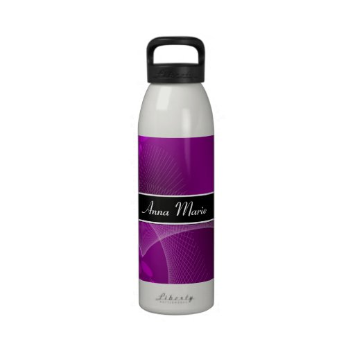 Abstract Purple Personalized H2O Bottle Reusable Water Bottles