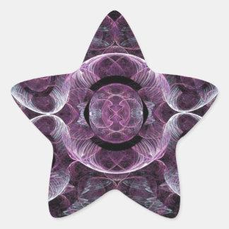 Abstract Purple Swirls Fractal Art Design Gifts Star Sticker