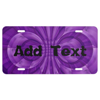 Abstract Purple Wood Pattern License Plate