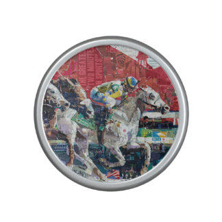 Abstract Race Horses Collage Speaker