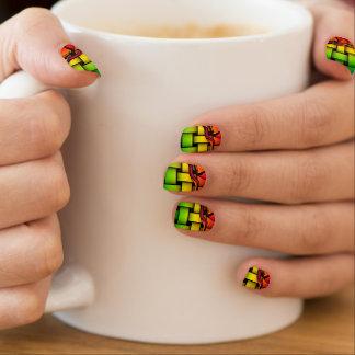 Abstract Rainbow Basketweave Nails Minx Nail Art