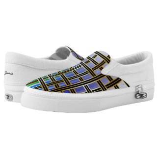 Abstract Rainbow Colored Criss Cross Box Pattern Slip-On Shoes