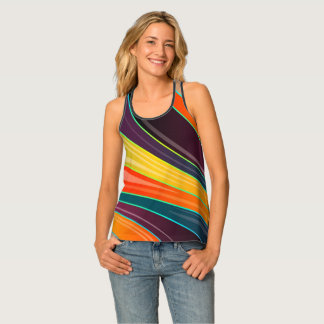 Abstract rainbow colorful spiral design singlet