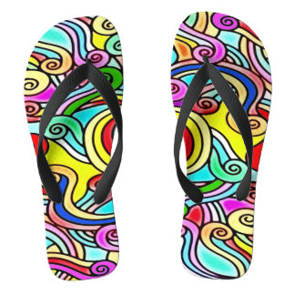 Abstract Rainbow Noodles Sandals Thongs