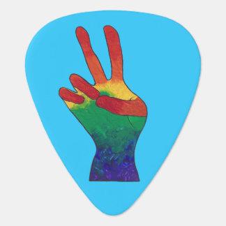 Abstract rainbow peace hand sign guitar picks