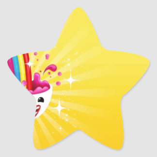 Abstract Rainbow Smile Star Sticker