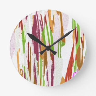 Abstract Rainbow Splash Design Round Clock