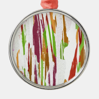 Abstract Rainbow Splash Design Silver-Colored Round Decoration