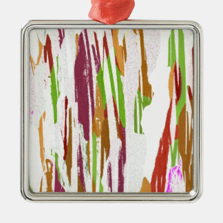 Abstract Rainbow Splash Design Silver-Colored Square Decoration