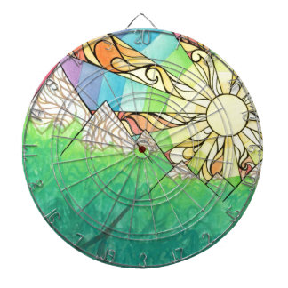 Abstract Rainbow Sun Setting Watercolor & Marker Dartboard