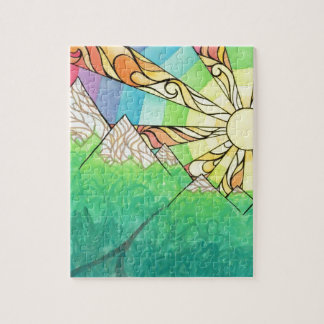 Abstract Rainbow Sun Setting Watercolor & Marker Jigsaw Puzzle