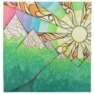 Abstract Rainbow Sun Setting Watercolor & Marker Napkin