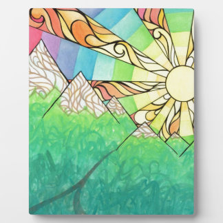 Abstract Rainbow Sun Setting Watercolor & Marker Plaque