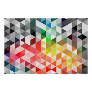 Abstract Rainbow Triangle Pattern Poster