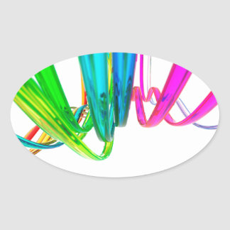Abstract rainbow waves on the move oval stickers