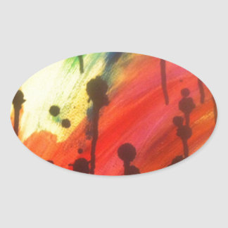 abstract rainbow with black drips stickers