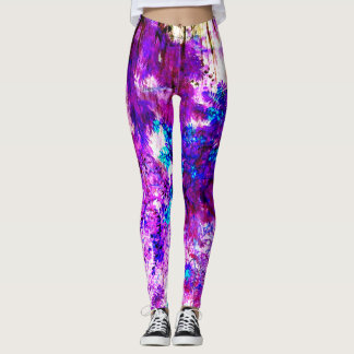 ABSTRACT RAINFOREST IN BLUE, WHITE AND CYCLAMEN LEGGINGS