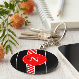 Abstract red and black basic round button key ring