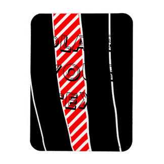Abstract red and black rectangular photo magnet