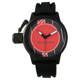 Abstract red and black wristwatch