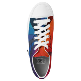 Abstract Red and Blue Color Pattern Low Top Shoe