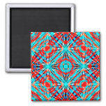 Abstract Red And Blue Pattern Square Magnet