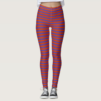 Abstract Red and Blue Stripes Leggings