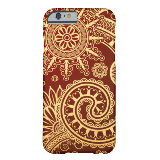 Abstract Red and Gold Floral Pattern Barely There iPhone 6 Case