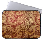 Abstract Red and Gold Floral Pattern Laptop Sleeve