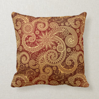 Abstract Red and Gold Floral Pattern Throw Cushion