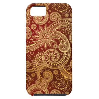 Abstract Red and Gold Floral Pattern Tough iPhone 5 Case