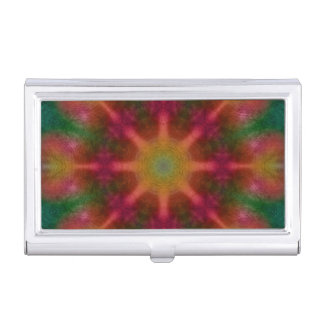 Abstract red and green kaleidoscope business card business card holder