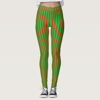Abstract Red and Green Stripes Leggings