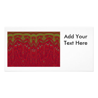 Abstract Red and Green Tribal Design Personalized Photo Card