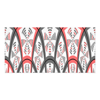 Abstract red and grey personalised photo card